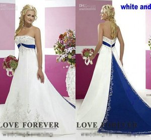 2018 New Silver Embroidery On Satin White and Royal Blue Floor Length Bridal Gowns Custom Made Vintage Style Plus Size Wedding Dresses