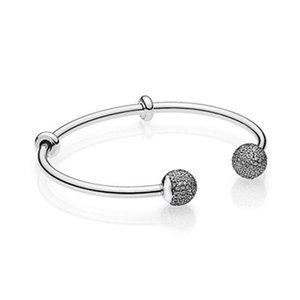 925 Sterling Silver Moments Open Bangle Pave Multicolor Caps With Cubic Zirconia Pandora Bracelet Fit Bead Charm Diy Jewelry