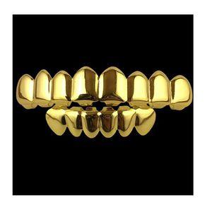 Hot sale 8 Teeth Fangs Fashion Gold plated Rhodium HIPHOP Teeth Grillz TOP & BOTTOM Rock Dental Grills Sets Halloween props