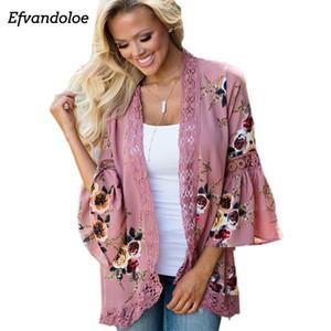 Efvandoloe Женщины Блуза Кимоно Кардиган 2018. печати Lace Shirt Плюс размер Лучшие женские Женская одежда