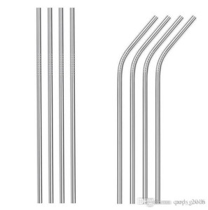 Wholesale 10.5inch 8.5inch Stainless Steel Straw reusable drinking straw straight and bend drinking tool Stainless Steel straw