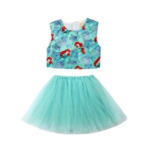 EU Stock criança Kid Baby Girl Mermaid Vest Tops Tulle vestido Tutu Skirt Outfit sunsuit