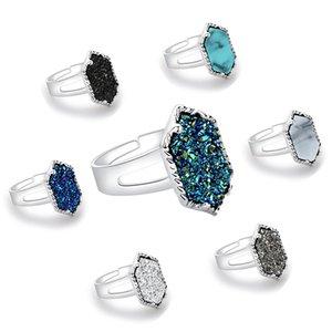 Diamant Bague à Electroplated Argent bague en alliage Druzy Drusy Natural Stone Love Claw Inlay Bijoux de cadeau de Noël