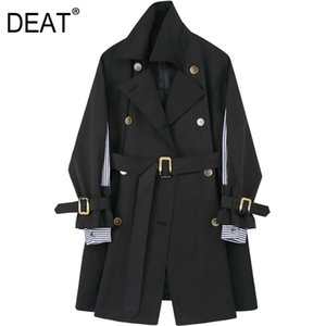 [DEAT] Women Striped Spliced Belt Double Breasted Trench New Lapel Long Sleeve Loose Fit Windbreaker Fashion Spring 2020 13R823