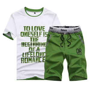 Summer Letters Print Mens Tracksuits Short Sleeve O Neck 2PCS Slim Mens Sports Suits Casual Fitness Breathable Male Sets