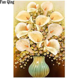 3D Rhinestone Golden Flower Vazo Çapraz Dikiş Desen Elmas Nakış Boyama Kristal Ev Dekorasyonu DIY Diamond Boyama