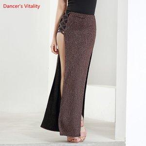 Dancewear femmes Vêtements de danse du ventre fendus Full Circle Jupe longue Spandex Bellydance danse jupe