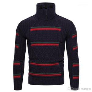Maglioni casual Designer Slim Zipper rivestite Mens dei maglioni casual Maschi Abbigliamento Rosso Verde Stripe con pannelli Mens