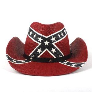 Summer American Flag Women Men Straw Cowboy Hat Wide Brim Beach Sun Cap Western Sombrero Cowgirl Jazz Caps