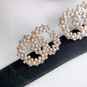 C1931 Charm letter earrings beautiful delicate jewelry female millet pearl earrings romantic girl gift with accessories