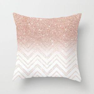 Наволочка Мраморная геометрическая полиэфирная диван декоративная блестящая наволочка для домашнего декора 45x45cm персиковая бархатная подушка 18styles RRA2904
