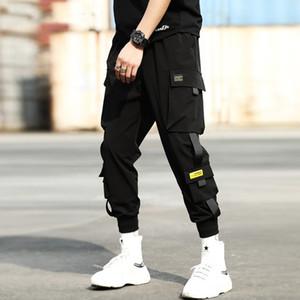 Street Schwarz Haremshosen Männer elastische Taillen-Punk Pants mit Bändern beiläufige dünne Jogger Hosen Männer Hip Hop Hose Größe M-3XL