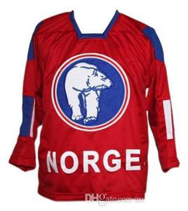 XXS-6XL Rare Vintage Norge Norvège Nouvelle-Rouge Skroder Hockey Jersey broderie Cousu Personnaliser les chandails numéro et nom