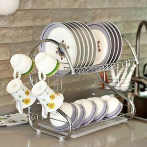 Nouveau multifonction double couche Bols Vaisselle Chopsticks Cuiller Collection étagère égouttoir cuisine en acier inoxydable Stockage Argent