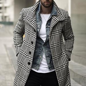 Mens Trench Moda Plaid monopetto risvolto cappotto lungo modo libero di lungo inverno di trasporto del rivestimento Cappotti Men Overcoat