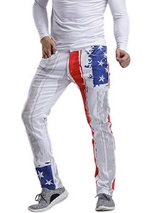 Idopy Men`s Patriotische USA-Flagge dehnbare Jeans-Hosen