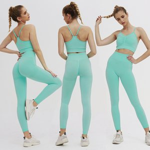 European and American Ins Hot Knitted Seamless Folding Peach Hip Yoga Pants Sports Yoga Fitness Suit