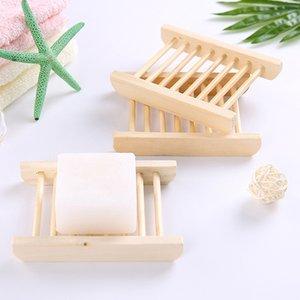 Platos de jabón portátiles bandeja del jabón de madera natural del sostenedor del plato de almacenamiento de baño plato de ducha Cuarto de baño con jabón Inicio del organizador del sostenedor