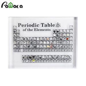 Acrílico Tabela periódica de presentes do dia Elemento Químico exibir elementos de exibição Crianças Professor de aniversário do Ensino Cartão Home Decor T200703