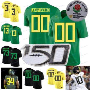 Custom Oregon Ducks Football Blanc Blanc Black Vert Jaune 7 CJ Verdell 10 Justin Herbert 30 Jaylon Redd 2020 Rose Bol 150ème Jersey 4XL