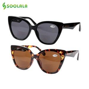 SOOLALA 고양이 눈 이중 초점 선글라스 안경 읽기 여성 남성 명품 선글라스 디옵터 안티 블루 읽기 선글라스 1.0-4.0 MX200527
