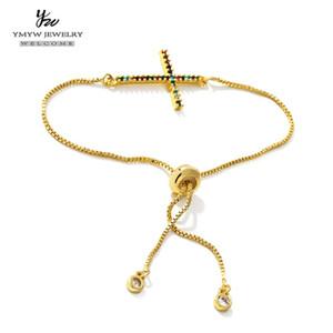 YMYW traversa di modo braccialetto personalizzato braccialetto multi-Color Cubic Zirconia dell'oro di colore Donne braccialetto registrabile