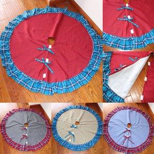 122 cm New Plaid Tree Skirt Decorazione natalizia Doppia cartella Bordo tela Xmas Decorazione Mat Diametro 4 colori WX9-1424