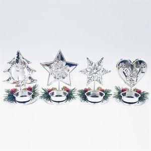 Decoração de natal Castiçais De Metal 4 Estilo Árvore Estrela Floco De Neve Coração Velas Caso Mini Vela Hiolders Para Favores Do Partido 4 5cj E1