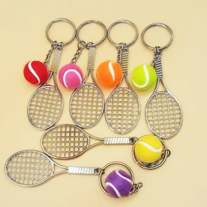 fashion 6 color Mini Tennis Keychain Sports Style Key Chains metal Keychains Car Keyring Kids Toy Novel Birthday Gift Party SuppliesT2C5187