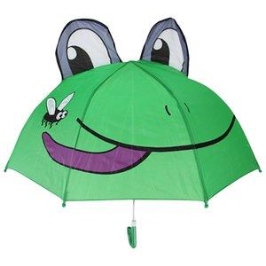 Çocuklar 3D Kedi Kurbağa Hayvanlar için uzun Saplı Yağmur şemsiyesi oğlan kız güneş koruması Öğrenci Umbrella için Sevimli çocuk şemsiye yazdırmak