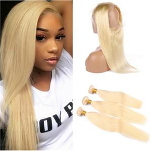 Bleach Blonde 360 Dentelle Frontal Fermeture Pré plumé avec 3Bundles # 613 Russian Blonde Human Hair Extensions droite avec 360 Fermeture