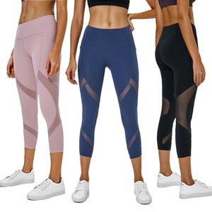 De nouvelles fesses poche pantalon de yoga dames haute stretch taille maille étanche raccord course pêche sens nu sept points pantalons de fitness