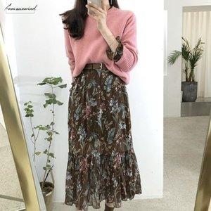 2020 Temperament Dress Women Korean Style Casual Date Wear New Year Cute Slim Waist Floral Printed Chiffon Vintage Dress Long