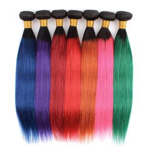 Kisshair kapatma Mavi Yeşil Kırmızı Pembe Mor saçlı renkli saç demetleri bakire Brezilyalı insan saçı uzantısı atkı-boyalı ön