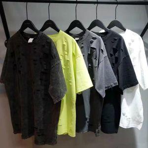 5 cores Distressing Preto T-shirt rasgado Hip Hop Descontraído algodão de manga curta T Streetwear