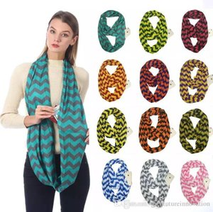 Unisex Fashion Scarf Chevron Wavy Printed Infinity Scarves With Hidden Zipper Pocket Ring Scarves Travel Warm Loop Scarf