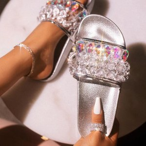 2020 Summer Women Crystal Platform Slippers Fetish Stripper Flats Casual Glitter Shoes Prom Shales Silver Beach Red Shoes