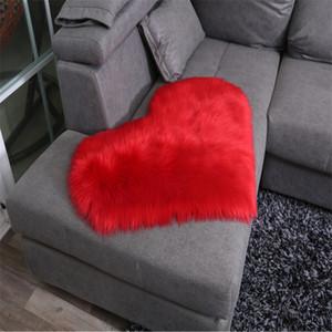 공장 도매 호주 모조 모직 양탄자 88 * 90cm 심장 모양의 바닥 매트 플러시 거실 커피 테이블 매달려 바구니 침대 옆 카르페
