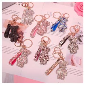 Key Ring PVC Keychain DIY Craft Cartoon Bear Handmade Rhinestone Crystal Key Chains Charm Pendant Keychains For girls Gifts M2094