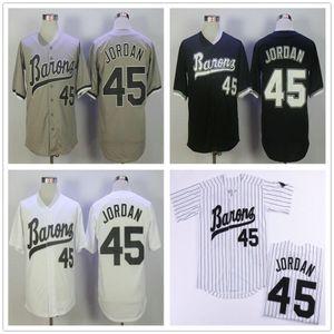 MICHAEL Jodan # 45 BIRMINGHAM BARONS Basebol Jerseys Mens Preto Branco Cinza Costurado Filme MICHAEL Birmingham Barons Retro Camisa de Beisebol