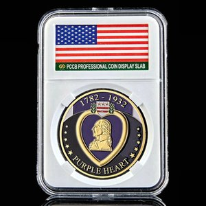 التحدي عملة 1782-1932 الولايات المتحدة Warthe الثوري القلب الأرجواني الذهب مطلي ميدالية تذكارية الفن النادرة لوط W / PCCB صندوق