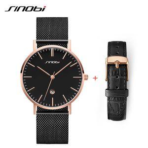 Strap Set SINOBI Mens Orologi Maschio business acciaio inossidabile Mesh banda calendario quarzo analogico semplice Men Watch + Leather