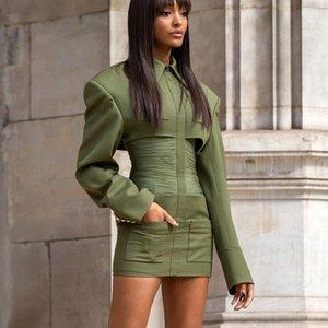 Brand Design Spring Vintage Luxury Slim Shirt Lapel Collar short Dress High Waist Draped Hip Dress Sexy Party Mini Dress gunn