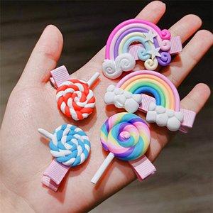3 piece lot Cute Rainbow Lollipop Children hair pins accessories For Girls Kids Hair Ornament Barrettes hair clips Headdress Wholesale JJ124
