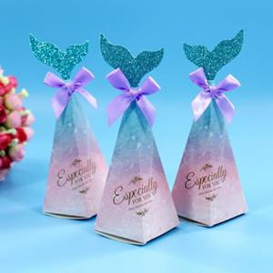 Nouvelle 20x6cm sirène queue rose sirène Candy Box queue Cadeaux Bow Noeud Boîte enfants Favors Thème de mariage fête d'anniversaire d'alimentation