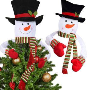 Arbre de Noël de bonhomme de neige Toppers Couverture mignon Chapeaux Écharpe Décoration de Noël Party Accueil Ornement Accessoires