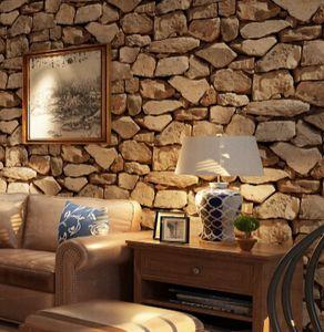 Brick Stone 3D Wallpaper Vintage Wallpaper Creative Coffee House Bar Wall Paper Living Room TV Background Decor
