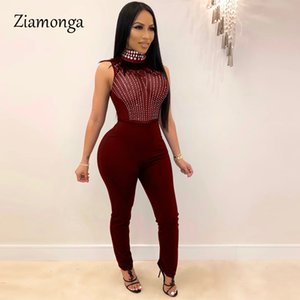 Ziamonga Sexy Bodycon Sleeveless Jumpsuits Fashion Mesh Striped Rhinestone See Through Romper Sparkly Overalls Combinaison Femme T200528