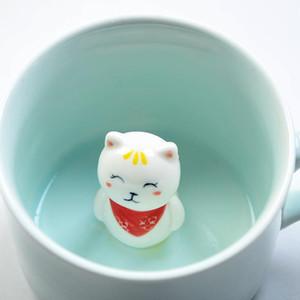Presentes Garrafa Cerâmica 3D estereoscópico Caneca animal dos desenhos animados lindo casal leite ou chá copos Dia dos Namorados 7 5mx A1