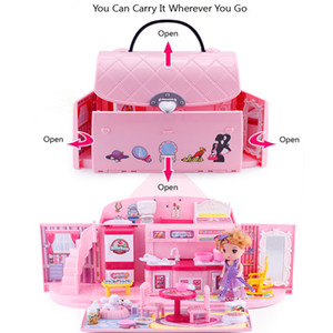 Diy Dollhouse For LOL Dol Dolly Insuments Cute House Miniatures Kids Villa Kitchen Light Music Dys Girl Birthday Gift Y200413